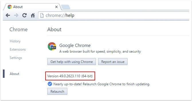 Chrome Version Page Framed