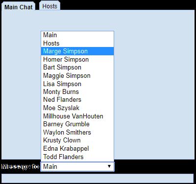 Private chat pulldown menu