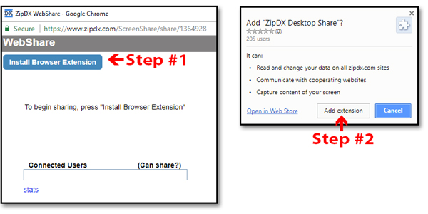 Installing the Web Share Extension from the Chrome Store | ZipDX