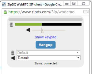 Click to launch a ZipDX test call.
